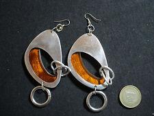 coppia orecchini alluminio resina marroni nuovi modelli bigiotteria fatti a mano