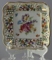 "Vintage Schumann  Dresden Square Dish/plate/ Bowl Flowers  Germany 5 3/8""SQ"
