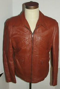VTG 1970s GRAIS PUNK LEATHER JACKET! LIGHTWEIGHT! WAIST BUCKLES/6 POCKETS/USA 42