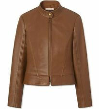 Tory Burch Calista Riding Jacket Size 2 in Saddle Brown Lamb Leather