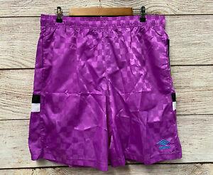 Umbro Premier Nylon Shorts Mens XL Purple Checkered Nylon Athletic Shorts New