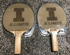 Lot Of 2 University Of ILLINOIS Ping Pong Paddle Table Tennis Sandpaper Illini