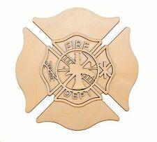 Fireman Maltese Cross Wood Cutout Unfinished Firefighter Wooden Crosses