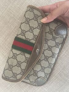 Vintage Gucci Clutch Bag Ophidia Sherry Line Make Up Travel Purse Good Conditim