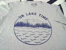 NEW Mens XL ON LAKE TIME TEE SHIRT Gray S/S Cotton Blend Mountains Trees