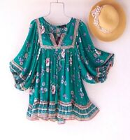 New~Peach Green Garden Rose Peasant Blouse Ruffle Spring Boho Top~Size Large L