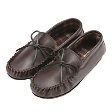 MENS GENUINE LEATHER MOCCASIN SLIPPERS DRIVING LOAFERS SHOES SIZE UK 3 - 13