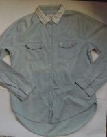 NWT Abercrombie Fitch Long Length Chambray Blue Denim LS Shirt Womens Sz M