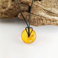 Natural Baltic Amber Pendant Doughnut Ring Milestone Shaped Cognac Accessory