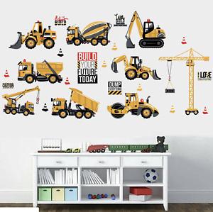 Construction Vehicle Wall Stickers Kids Art  Digger Dumper Tractor Nursery Mural