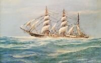 Antique Ship Painting Maritime Clipper Ship Sailboat Original Oil Painting