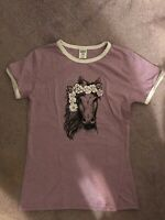 Girls Size 12Y Purple Short Sleeve Top with Horse on Front - Urban Smalls NWOT