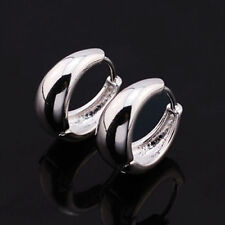 Cute Smooth 9K White Gold Filled Womens / Girls Small Petite 13mm Hoop Earrings