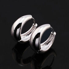 Cute New Silver 9K White Gold Filled Smooth & Shiny Small Petite Hoop Earrings