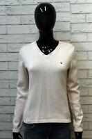 Tommy Hilfiger Maglione Donna Taglia M Cardigan Pullover Sweater Rosa Cotone