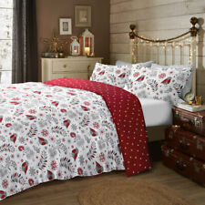 Fusion Scandi Christmas Robin Reversible Brushed Cotton Duvet Cover Set, Red