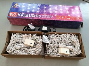 960 Icicle Lights with Snow Effect Christmas 960 Bright Indoor or Outdoor 9.5m