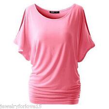 Damen Oversize T-Shirt Shirts Tops Hemd Bluse Unifarbe Fledermaus Oberteil S-5XL
