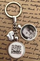 Personalised Photo Keyring - Wrap Daddy Round Fingers - Christmas Present Gift