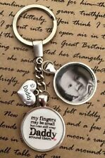 Personalised Photo Keyring - Wrap Daddy Round Fingers Christmas Birthday Gift