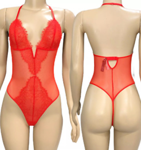 Victorias Secret Lingerie Babydoll Teddy Bodysuit Sheer Mesh / Lace Red