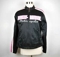 Harley Davidson Women's M Black & pink embroidered motorcycle riding jacket coat