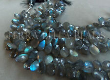 "4.5"" strand LABRADORITE faceted gem stone pear briolette beads 9mm - 12mm"