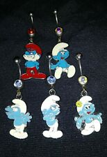 Brand New! Lot Of (5)- Smurf 14G Belly Rings- 316L Surgical Steel- Adorable!