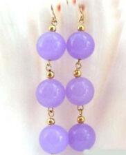 8MM Purple Jade 3 Beads 18KGP Hook Dangle Earrings JE227