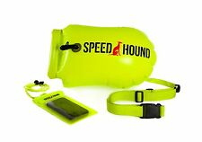 Open Water Swimming Safety Buoy With Dry Bag and Cell Phone Case -HiLiter Yellow
