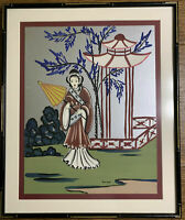 """ASIAN PAINTING ON SILVER FOIL Geisha with Umbrella 23"""" X 19"""" with Matte & Frame."""