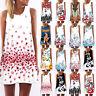 Women Boho Floral Sleeveless Round Neck Vest Dress Summer Beach Tank Long Tops