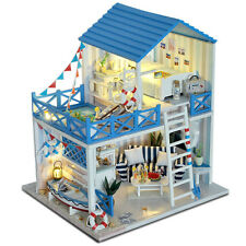 DIY Dollhouse Miniature Luxury Villa Wooden Furniture LED Kits Music Xmas Gift