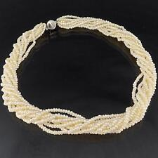 Nine Strand about 2133 Natural SEED PEARL NECKLACE 14k White Gold Plate Clasp