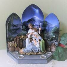 Advent Wreath Christmas Candle Holder Brilliant Blue Backdrop Holy Family