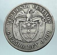 1922 COLUMBIA Simon Bolivar Eagle Shield ANTIQUE Silver 50 Centavos Coin i81066