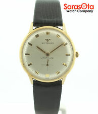 Vintage Wittnauer 10K Gold Plated Black Lizard Strap Automatic Men's Watch