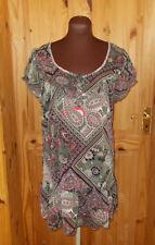 WALLIS black olive green coral pink paisley chiffon tunic tea dress M 12-14 42