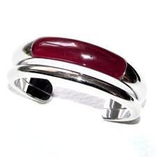 CALVIN KLEIN Bracelet jonc manchette en acier et résine bordeaux Taille S bijou