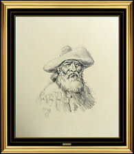 Olaf Wieghorst Original Drawing Signed Western Portrait Illustration Artwork SBO