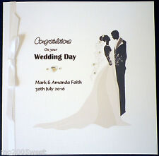 WEDDING CONGRATULATIONS card PERSONALISED for the BRIDE & GROOM hand made