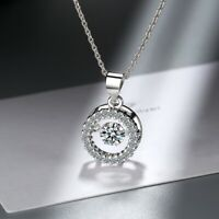 925 Sterling Silver Round Twinkle Stone Chain Pendant Necklace Womens Jewellery