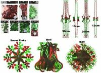 Red&Green Xmas Hanging Ceiling,Wall Decoration Foil Garland,Bell,Ball,SnowFlake
