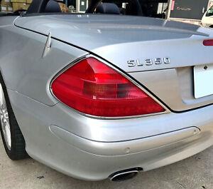 Chrome Taillights Trim Bezel Surround Rim For Mercedes Benz SL-Class R230 02-08