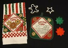 Holiday Kitchen Towel & Hot Pad with Cookie Recipe and Cookie Cutters