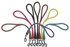 Soft Rolled Genuine Leather Traffic Lead Leash  - 8 Colors