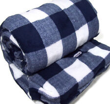 Biddeford Heated Electric Warming Micro Plush Navy Buffalo Plaid Throw Blanket