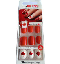NEW Kiss Nails Impress Press On Manicure Short Gel Red White Canadian Maple Leaf