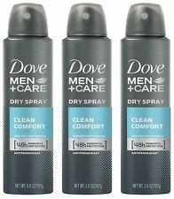 Dove Men + Care Dry Spray Antiperspirant, Clean Comfort 3.8 oz (Pack of 3)