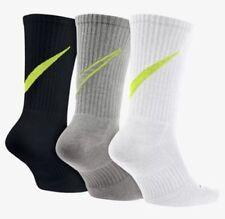 Nike Mens Crew Socks 3-PACK Cushioned 3 Pairs SIZE 8-12 LARGE SX4950 Black White